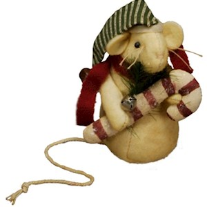 "Candy Cane Mouse 4.25"" Tall"