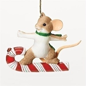 "2.75"" Mouse On Candy Cane Ornament"