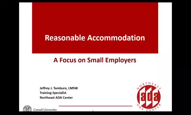 Screenshot of Reasonable Accommodation: A Focus on Small Employers