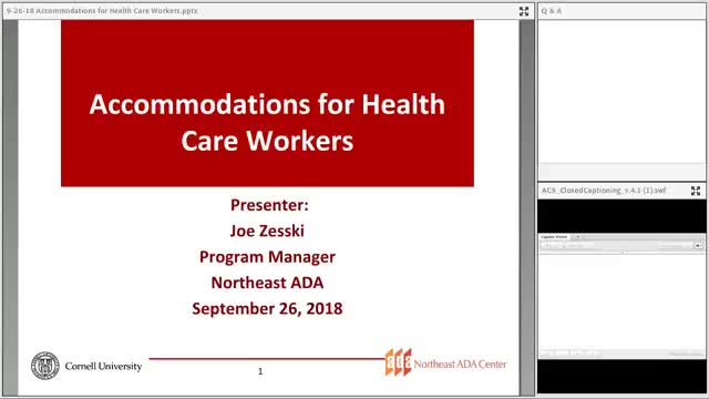 Screenshot of Accommodations for Healthcare in the Workplace