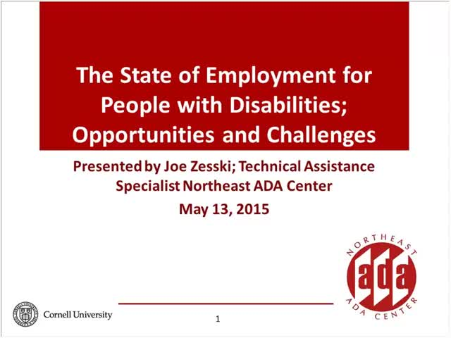 Screenshot of The state of Employment for people with disabilities:  Opportunities and challenges