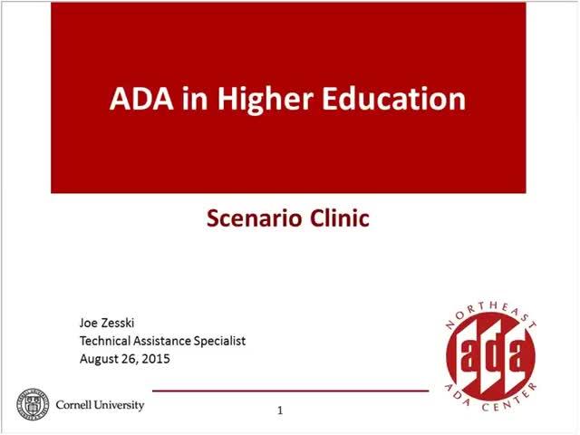 Screenshot of Scenario Clinic:  ADA And Higher Education