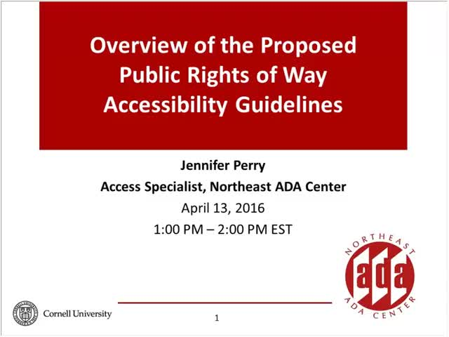 Screenshot of Overview of the Proposed Public Rights of Way Accessibility Guidelines