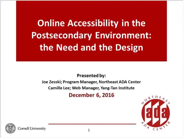 Screenshot of Online Course  Accessibility in the Postsecondary Environment: The Reason and the Design