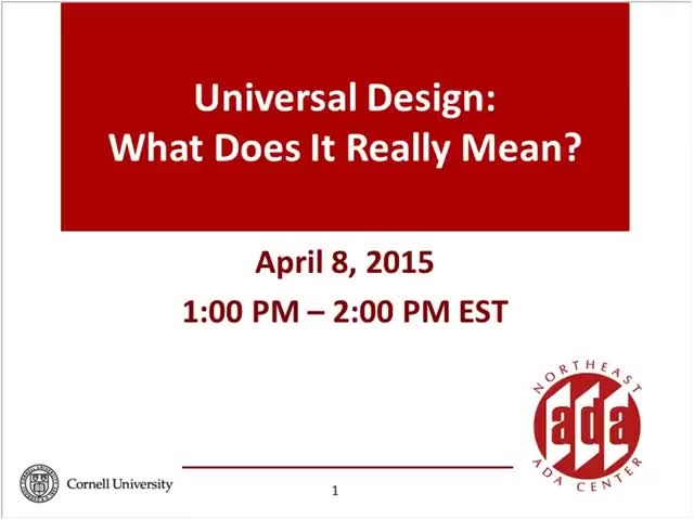Screenshot of Universal design: What does it really mean?