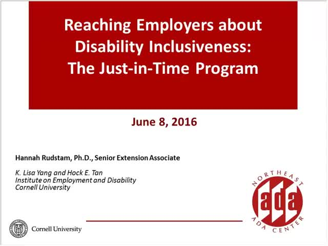 Screenshot of Reaching Employers about Disability Inclusiveness:  The Just-in-Time Program