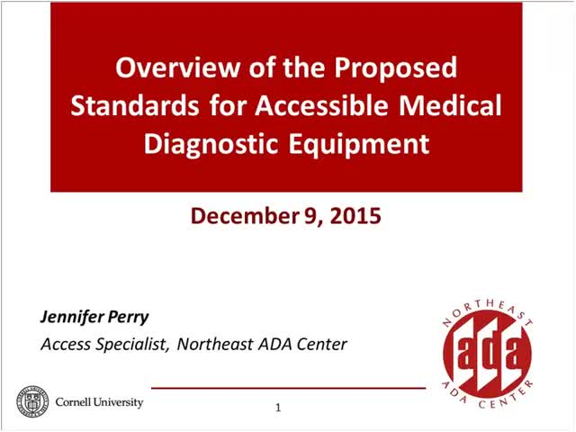 Screenshot of Overview of the Proposed Standards for Accessible Medical Diagnostic Equipment