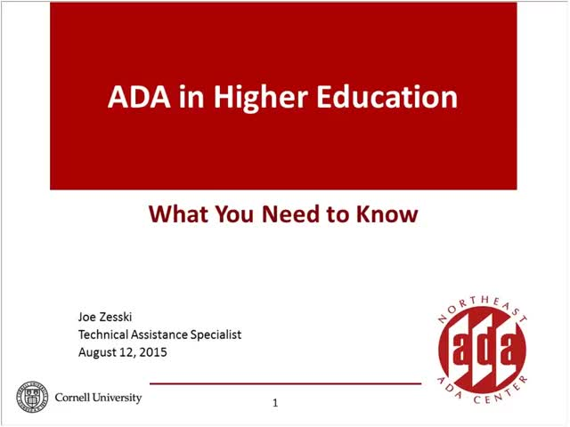 Screenshot of The ADA and Higher Education:  What you need to know