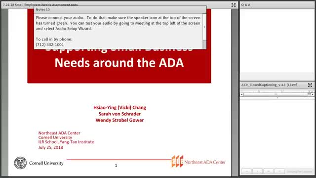 Screenshot of Small Employer Webinar