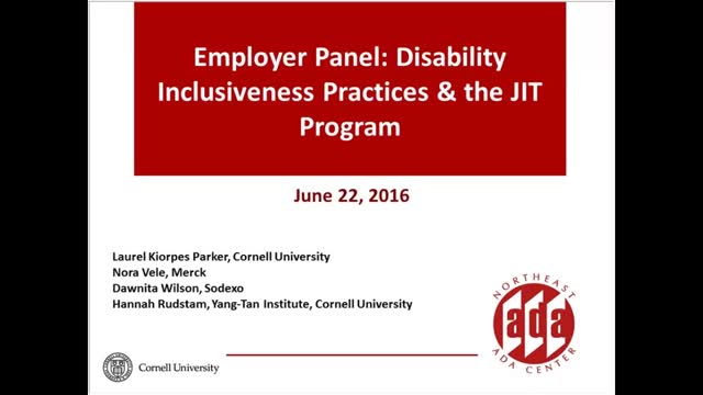 Screenshot of Employer Panel:  Disability Inclusiveness Practices and the Just-in-Time Program