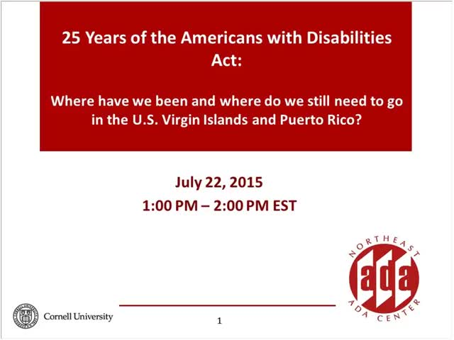 Screenshot of 25 Years of the Americans with Disabilities Act: Where we have been and where do we still need to go in Puerto Rico and the U.S. Virgin Islands!