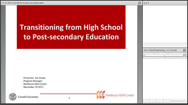 Screenshot of Transitioning From High School to Post-Secondary Education