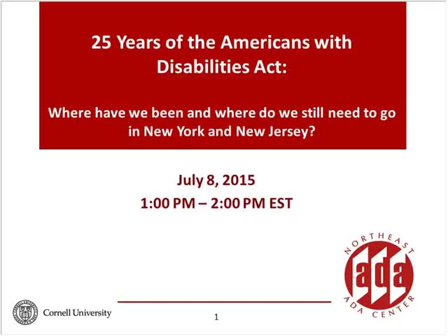 Screenshot of 25 Years of the Americans with Disabilities Act: Where we have been and where we still need to go in New York and New Jersey!