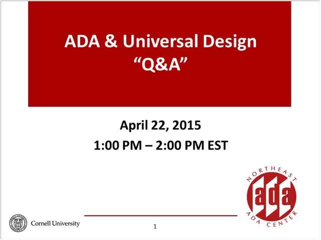 Screenshot of Building & Universal Design Q & A