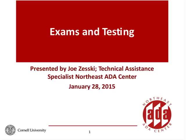 Screenshot of Exams and Testing