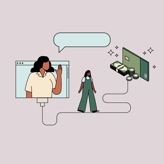 Woman waving from a computer screen while the other walks toward a pile of money and her Ellevest debit card. Illustration.