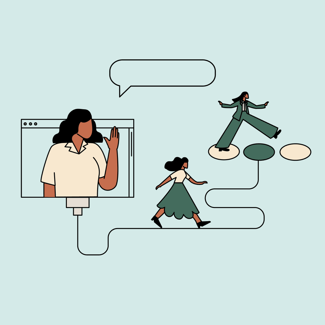 An illustration of one woman waving from a computer screen while the other walks along a wire toward herself in a suit, walking along some stepping stones.