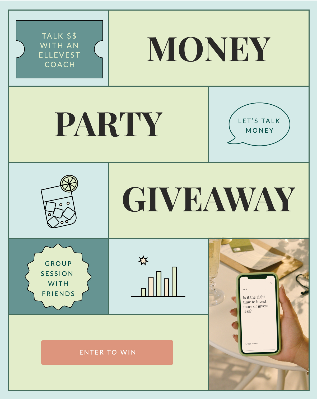 """Graphic that reads, """"Talk $$ with an Ellevest coach. Group session with friends. Money talk giveaway. Let's talk money. Enter to win."""""""