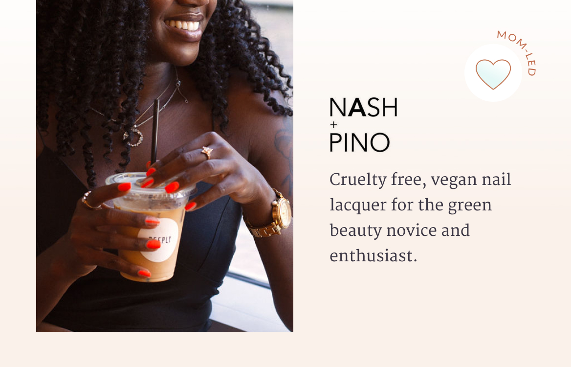 Cruelty-free, vegan nail lacquer for the green beauty novice and enthusiast. One smiling woman wearing a beautiful watch, rings, and necklace while she sips on an iced latte.