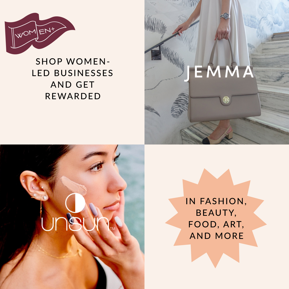 Image of a woman holding a bag you can find on Jemma, an iconic work bag brand, next to an image of a woman using UnSun Cosmetics, also a women-led brand.