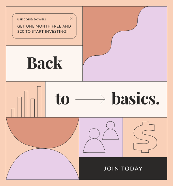 """Icons that represent people, money, and financial graphs. Three text boxes read: """"Back to Basics,"""" """"Get one month free and $20 to start investing!"""" and """"Join today."""" Illustration."""