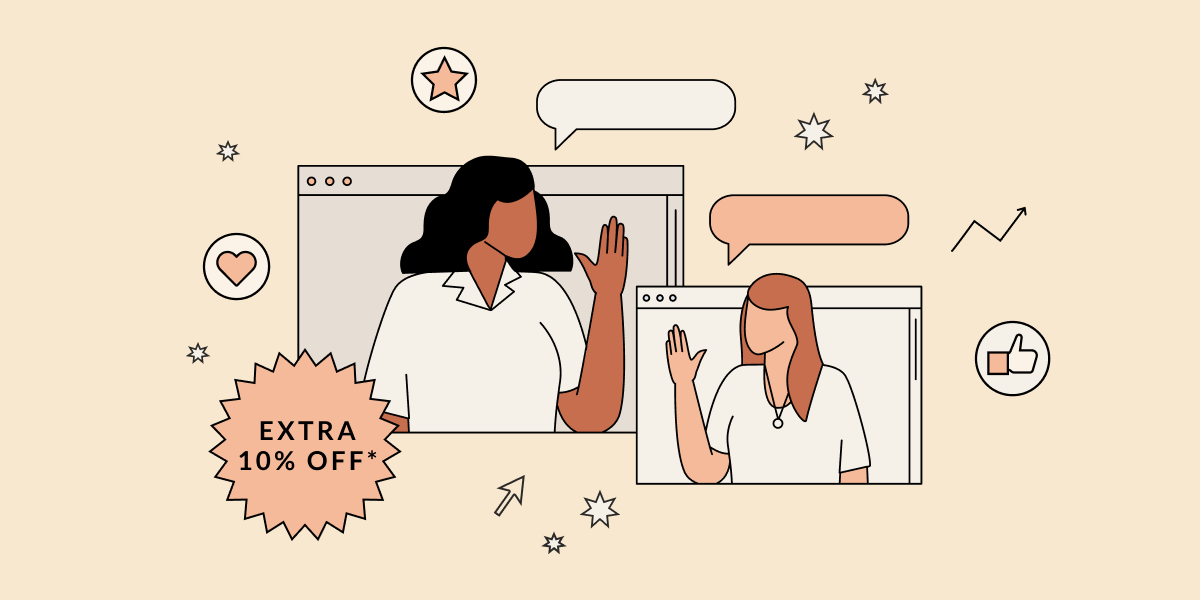 Two women wave at each other from their computer screen surrounded by chat bubbles and stars. Illustration.