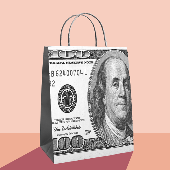 Shopping bag made from a hundred dollar bill. Illustrated collage.