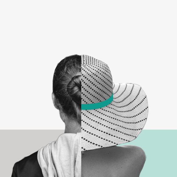 Back of a woman's head, split vertically. On one side, she's in street clothes. On the other, she's in a beach hat. Collage.