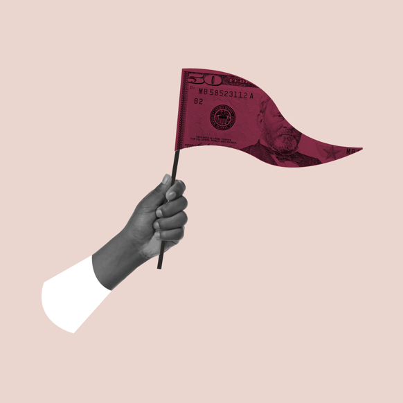 A hand holding a red flag printed with a $50 bill. Collage.