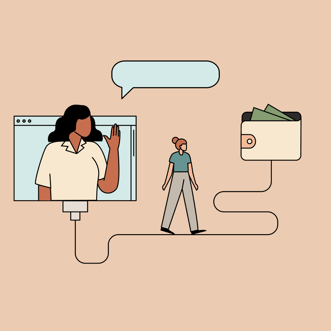 Woman waving from a computer screen while another walks toward a wallet with money sticking out. Illustration.