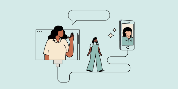 Woman waving from a computer screen while another woman walks toward a giant smartphone displaying a video call. Illustration.