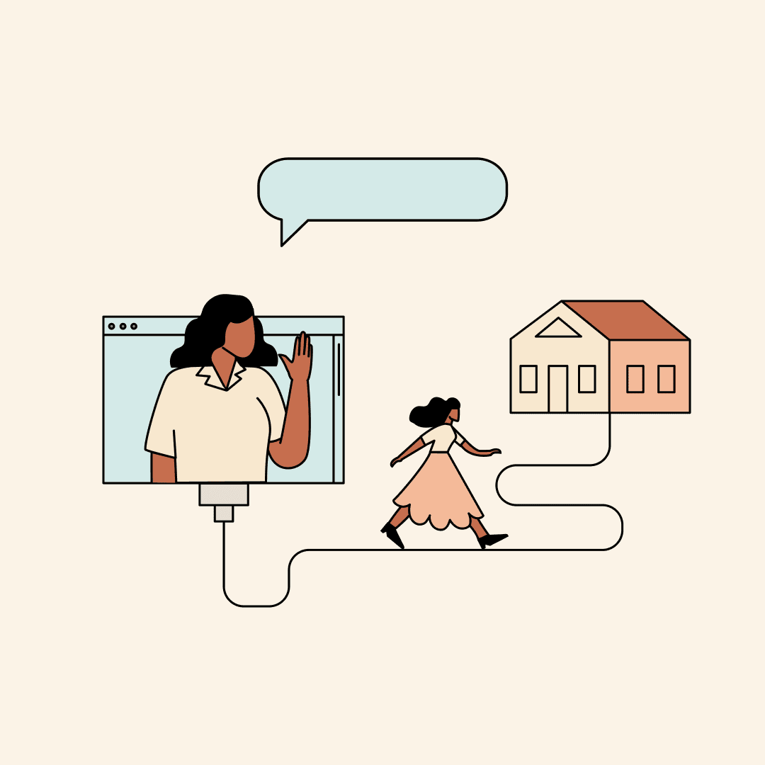 Woman waving from a computer screen while another walks toward a house. Illustration.