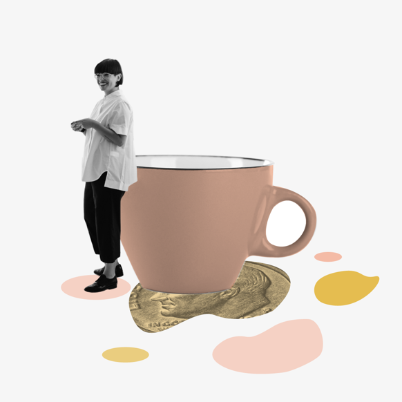 A woman leaning against the rim of a giant mug, with splotches on the ground under her feet. Collage.