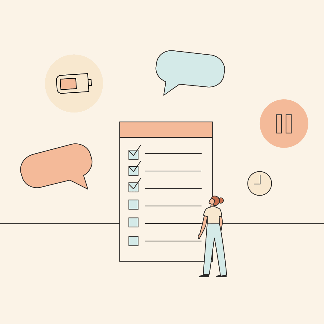 A woman looking up at a giant checklist, with a battery, pause button, and clock floating around it. Illustration.