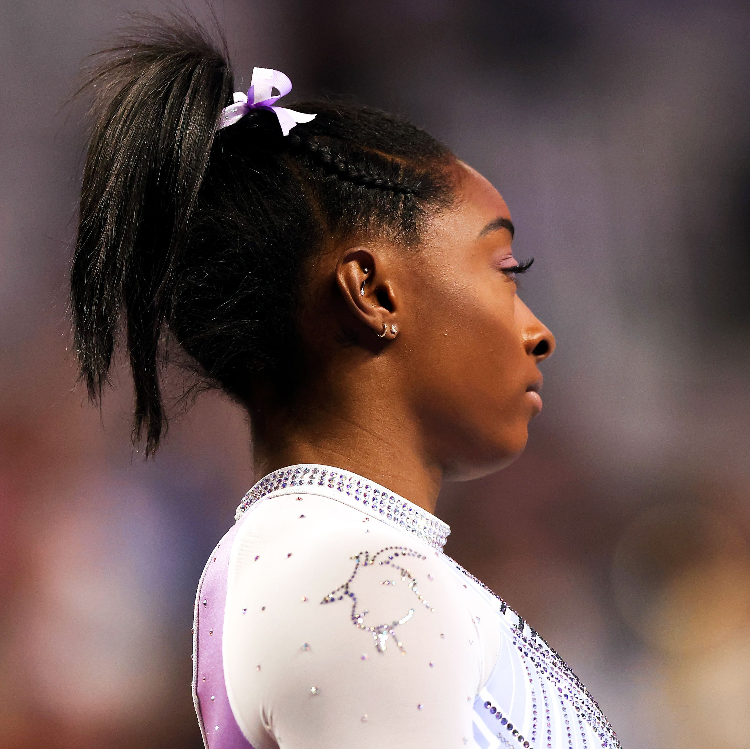 Photograph of Simone Biles, the most decorated US women's gymnast ever.