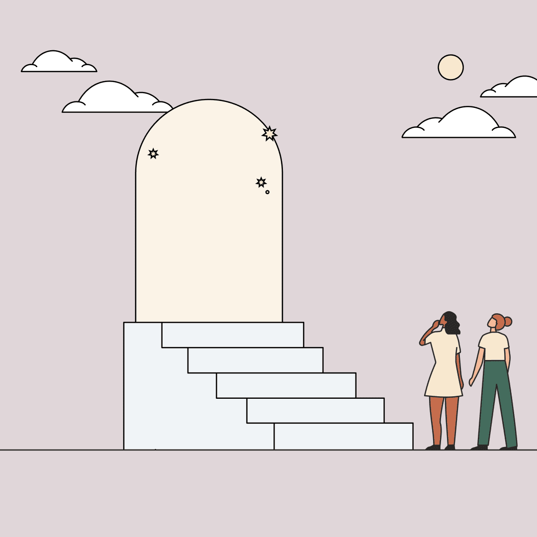 Two women looking up at a floating doorway to the stars. Illustration.