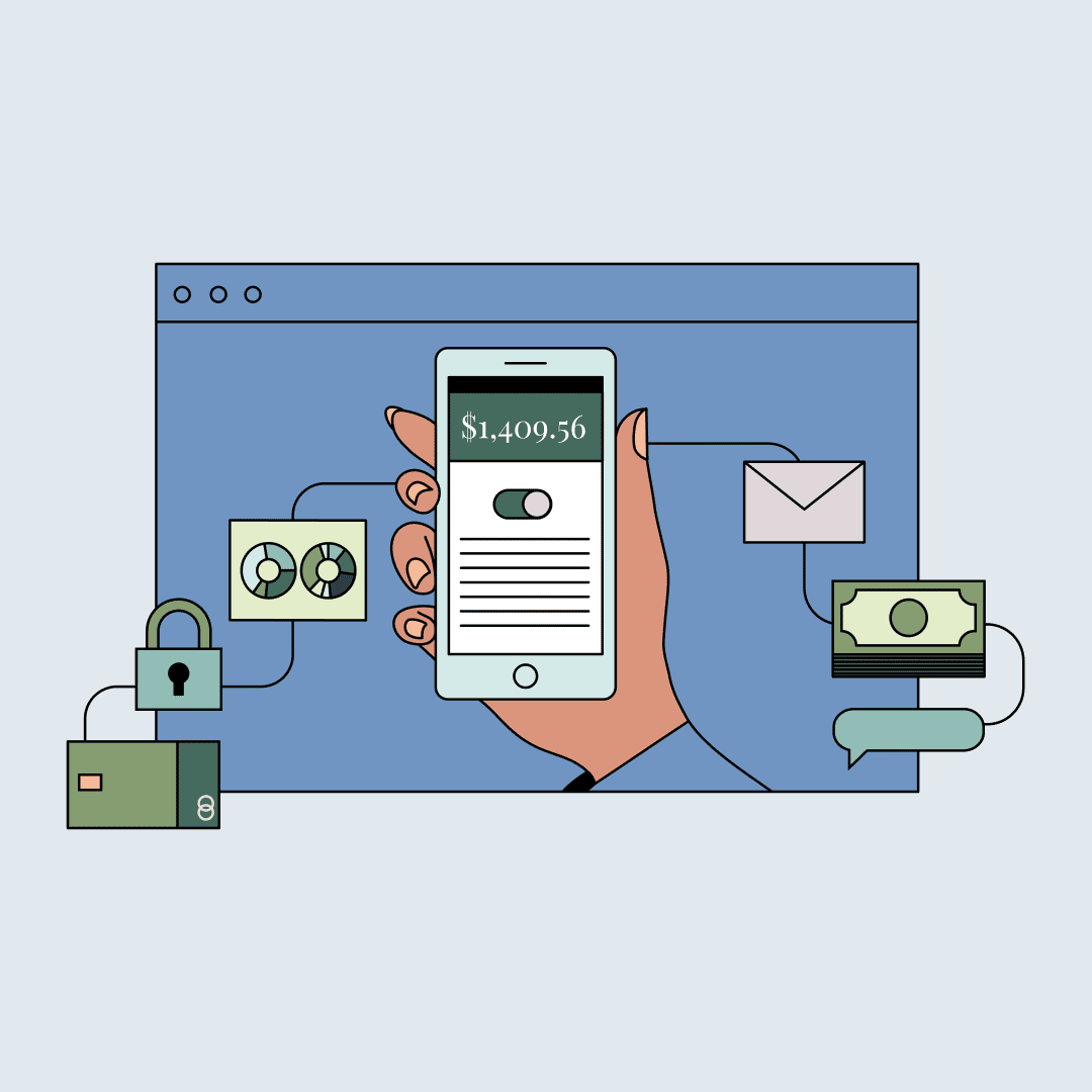 A hand holding a smartphone in front of a computer screen. Floating charts, money, and other symbols. Illustration.