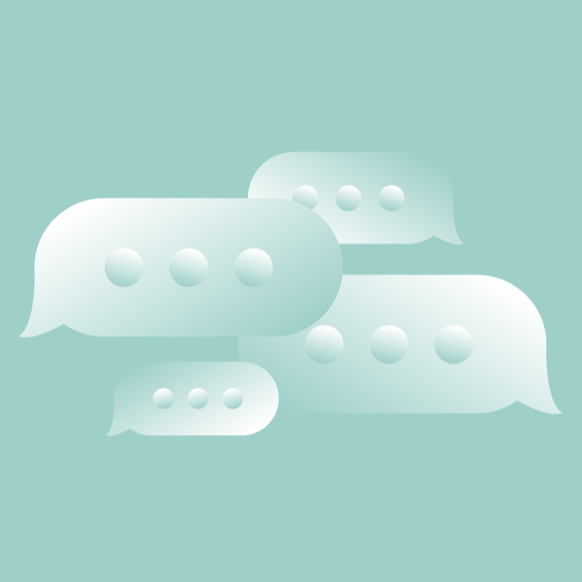 Four overlapping chat bubbles. Illustration.