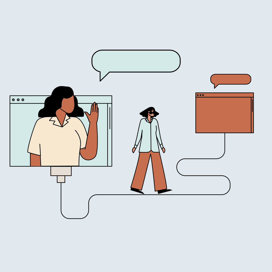 Woman waving from a computer screen while another woman walks toward a computer screen under a speech bubble. Illustration.