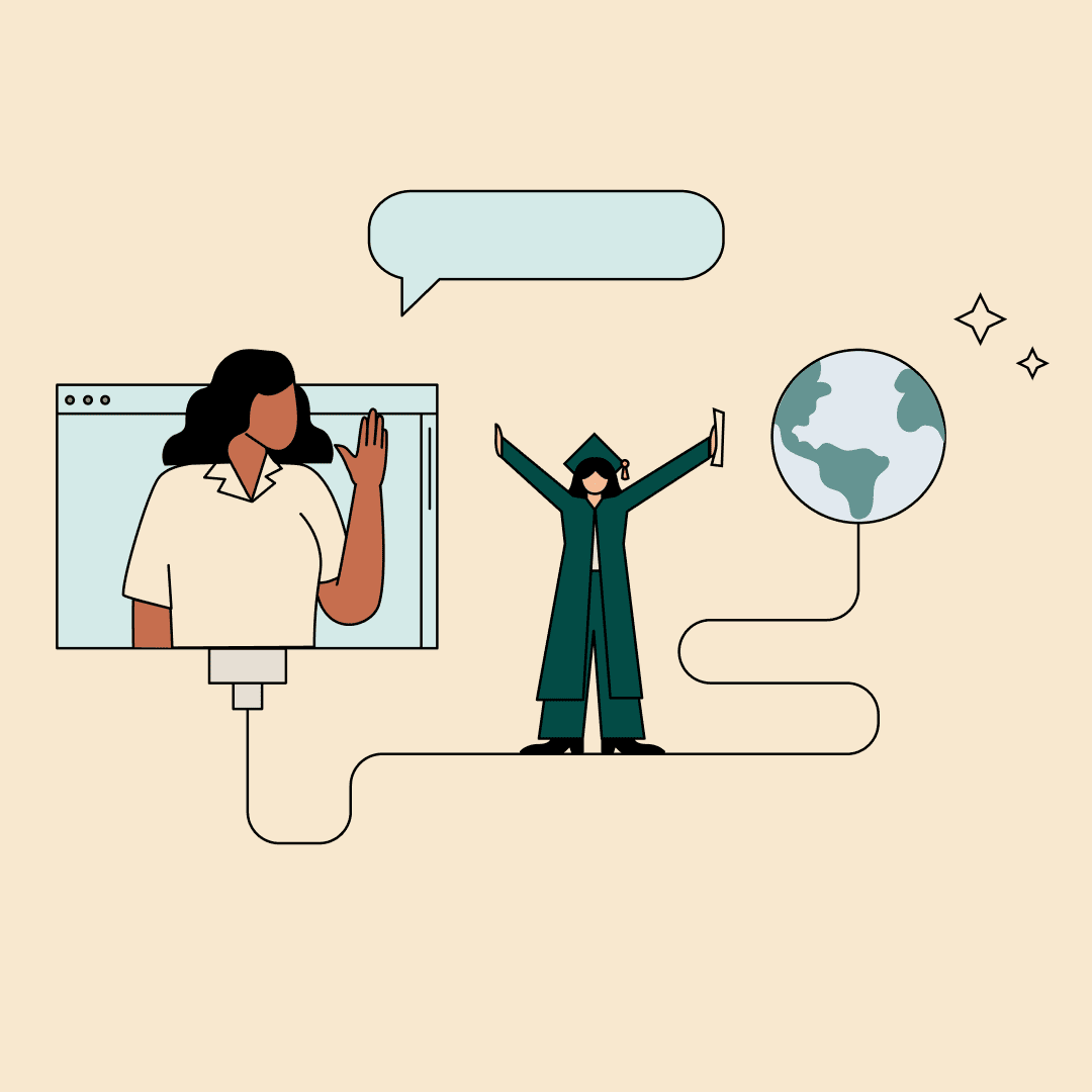 A woman waving from a computer screen while a woman in a graduation cap and gown walks toward a sparkling globe of the Earth. Illustration.
