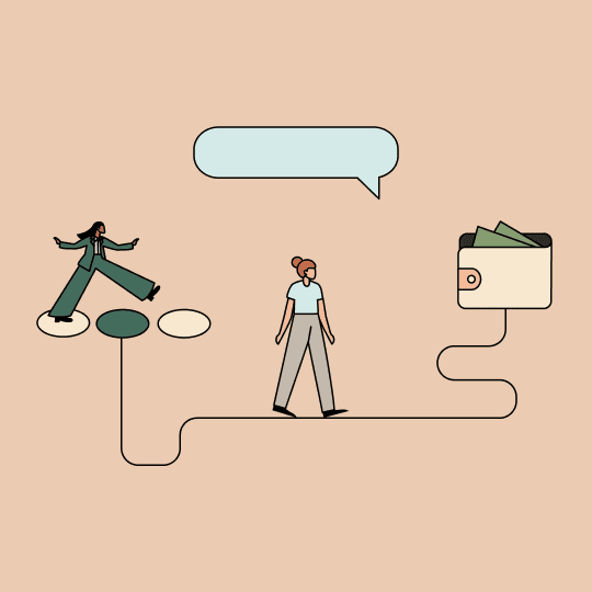 Woman taking a giant step forward while another walks toward a wallet with cards in it. Illustration.