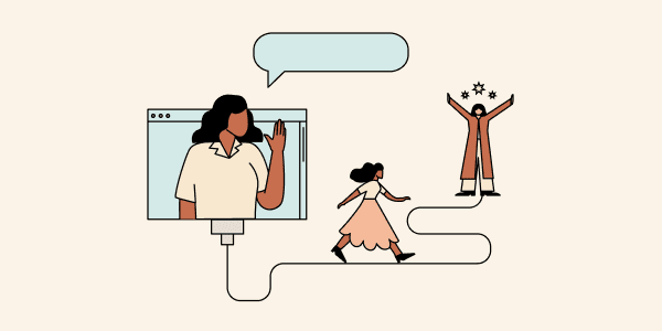 One woman waving from a computer screen while the other walks along a wire toward a woman with their arms raised in the air surrounded by tiny stars. Illustration.