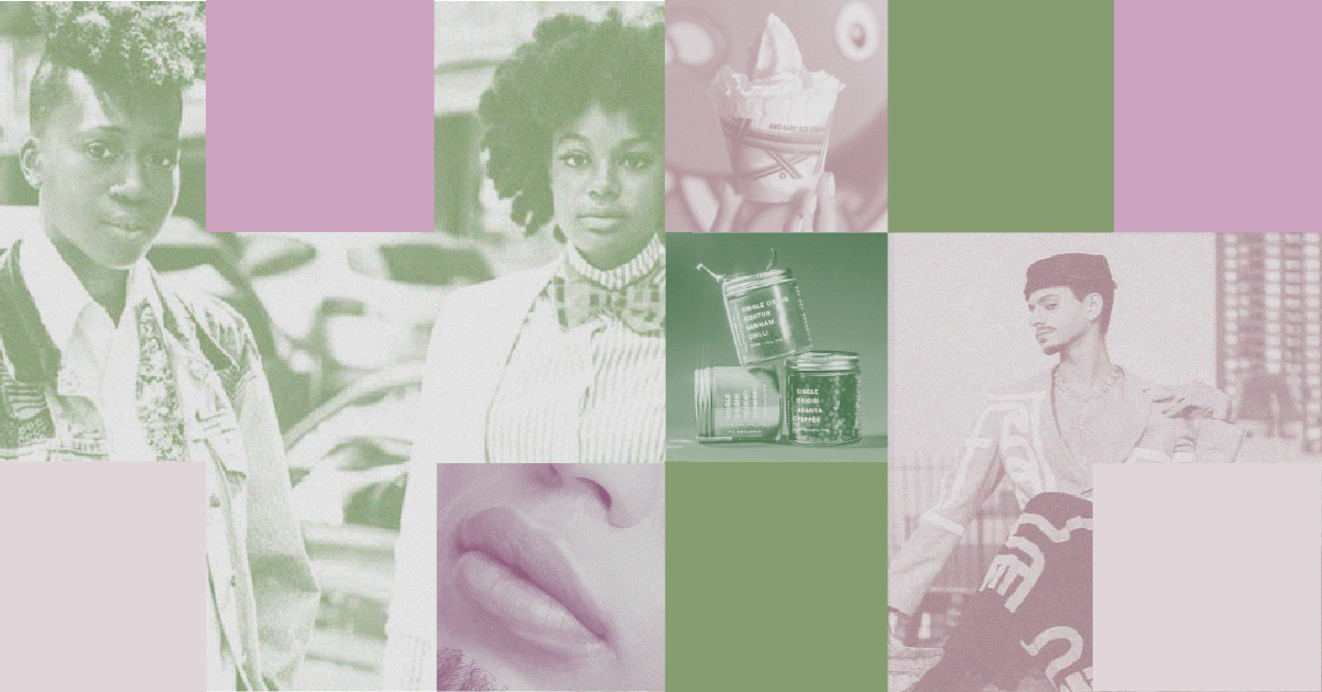 A collage of squares featuring images from LGBTQIA+ owned businesses.