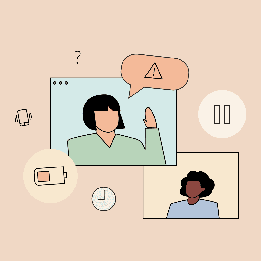 Two women video conferencing, with symbols like a half-full battery and pause button floating around. Illustration.