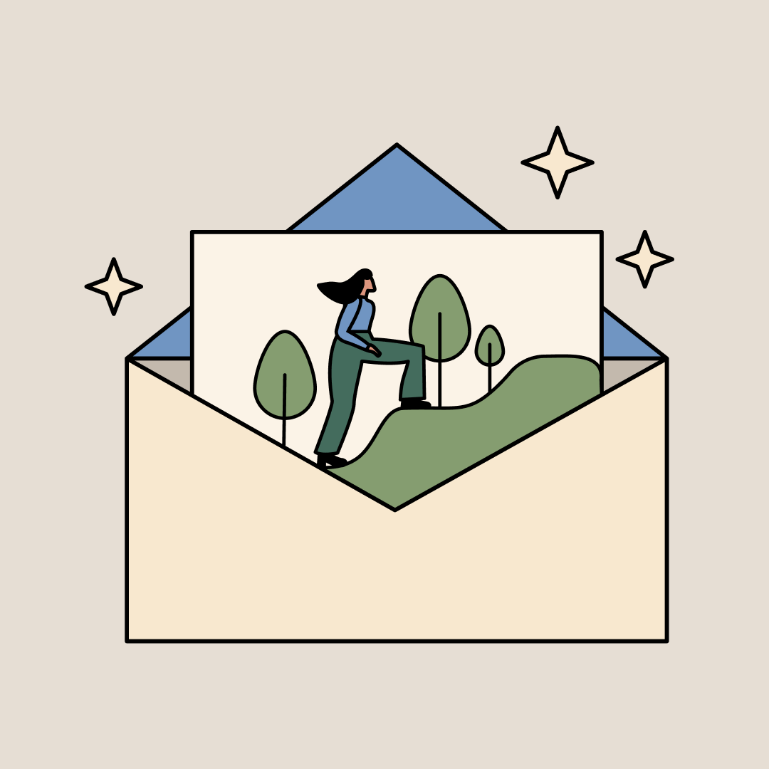 An envelope with a piece of paper coming out of it that has a drawing of a woman climbing up a hill confidently. Illustration.