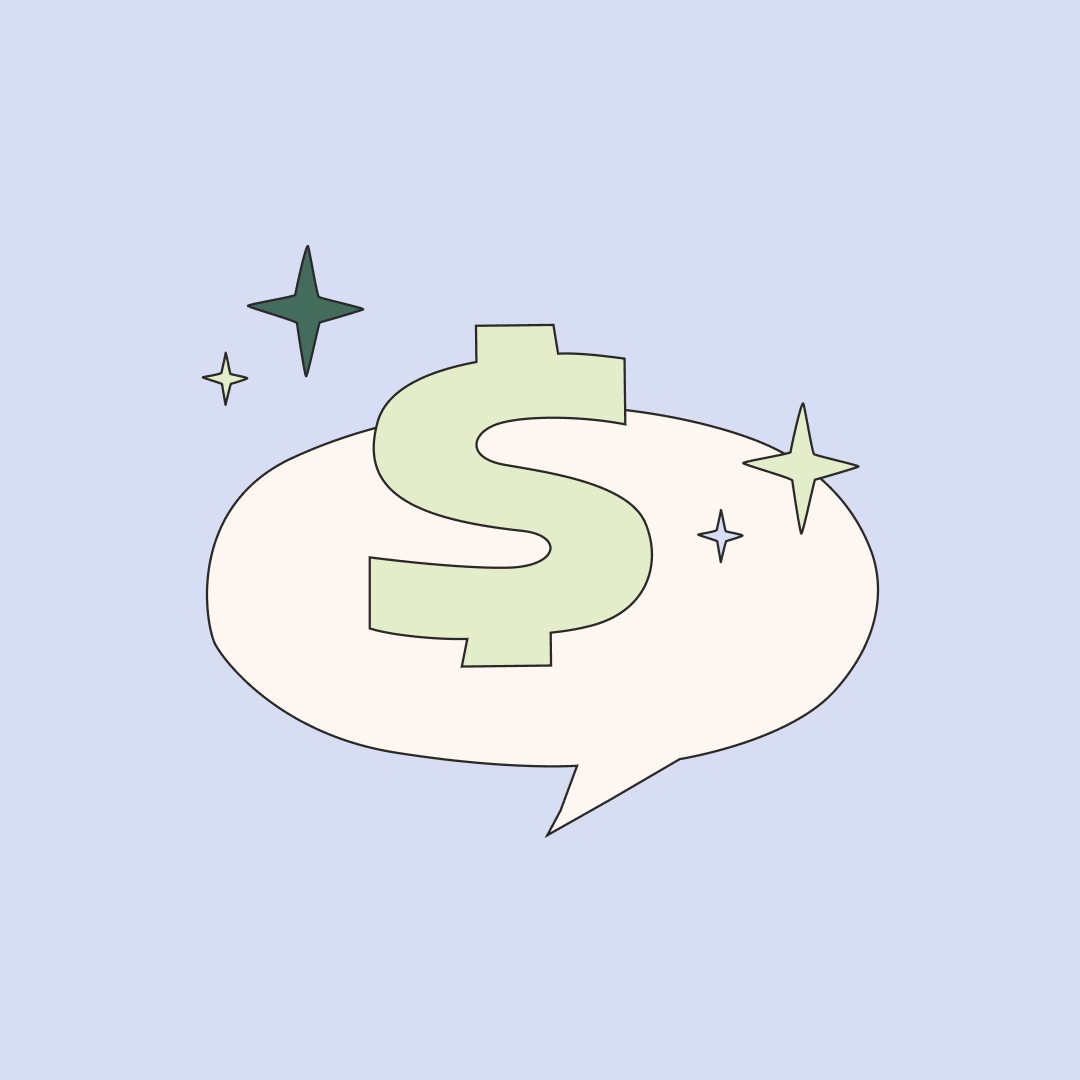 Dollar sign in a chat bubble surrounded by stars. Illustration.