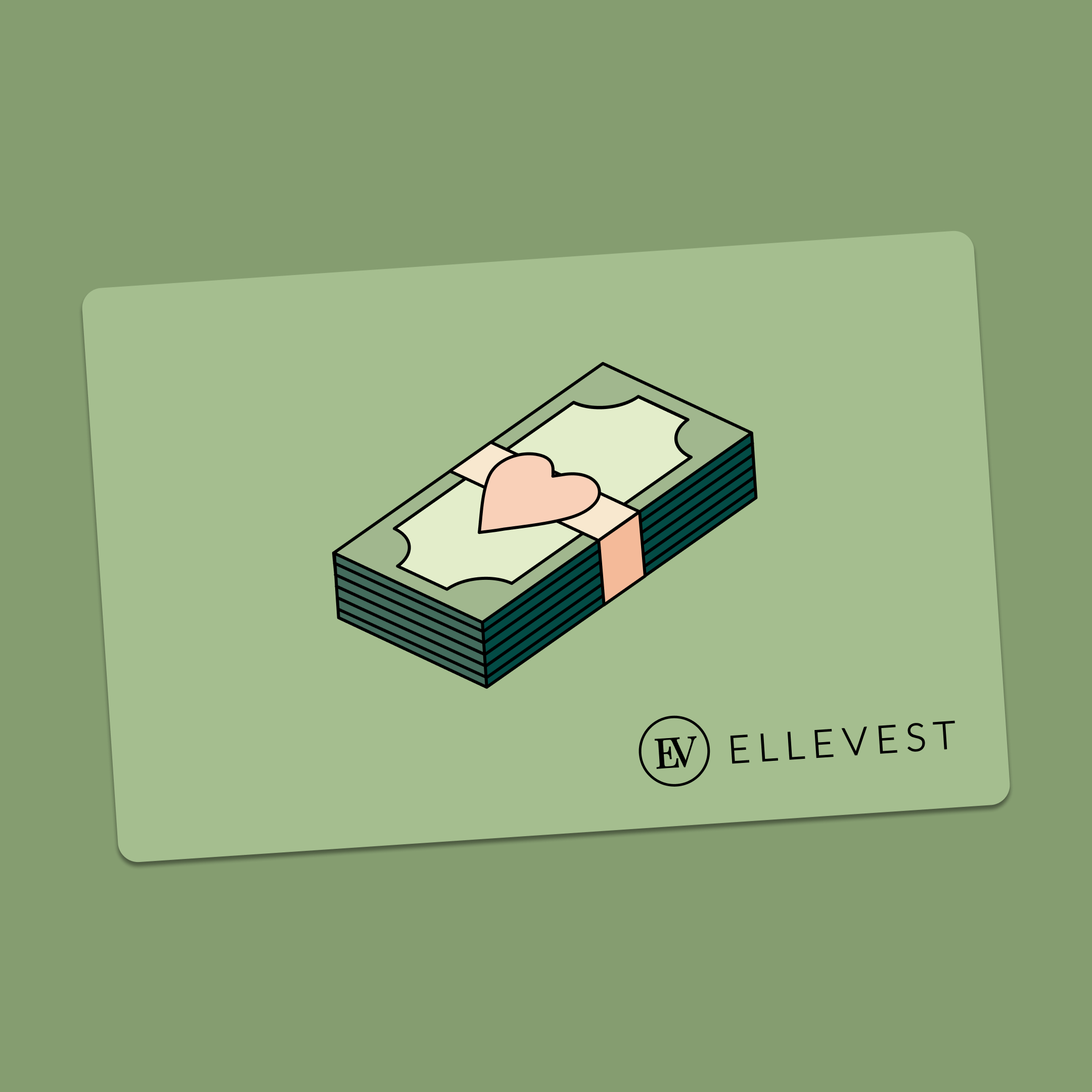 A gift card featuring a stack of cash with a heart logo. Illustration.
