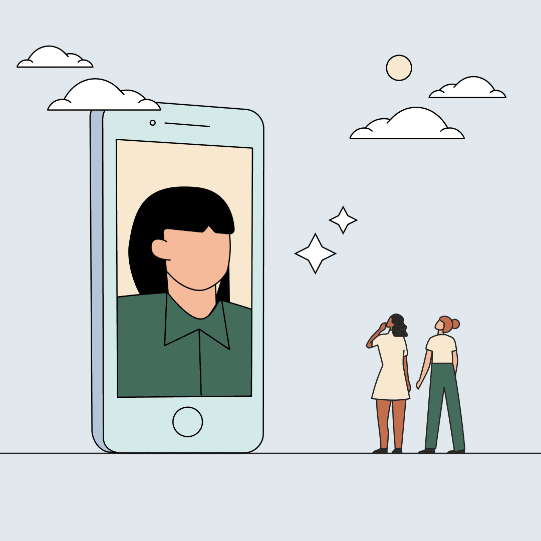 Two women looking up at a giant smartphone showing a woman video chatting. Illustration.