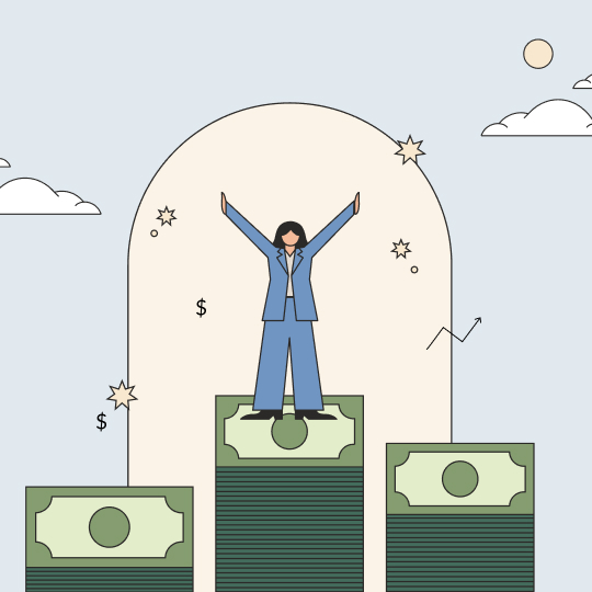 Woman on a cash podium in a pantsuit with their arms in the air. Illustration.