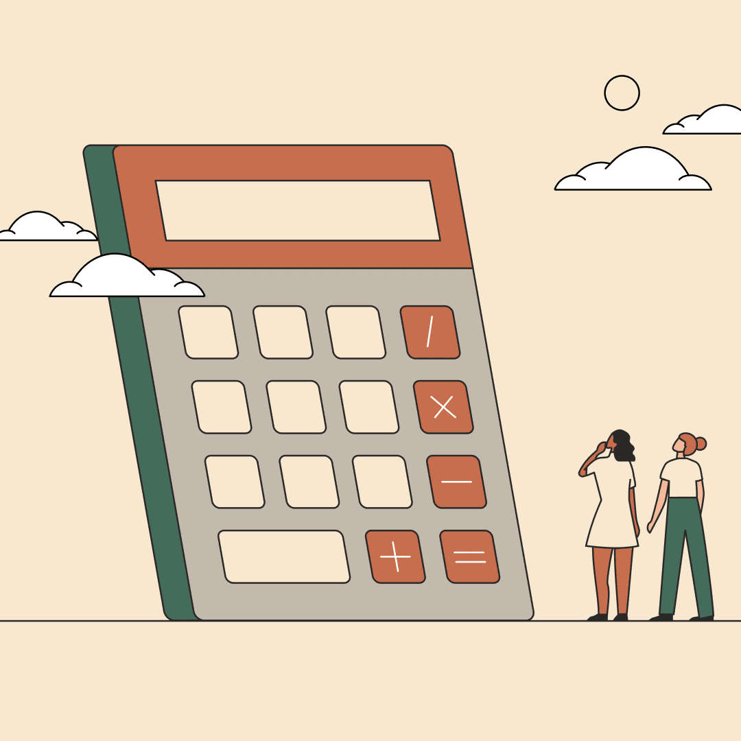 Two women looking up at a giant four-function calculator. Illustration.